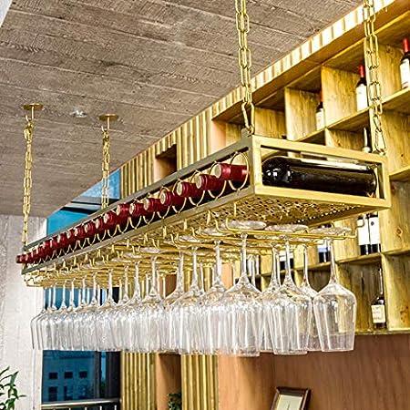LJWJ Estante para Vinos, Bar, Restaurante, Colgante, Estante para Copas de Vino, Techo S Dorado, Estante para Botellas de Vino Soporte para Copas de Vino Vasos Estantes para Copas Altura Ajustable Ho
