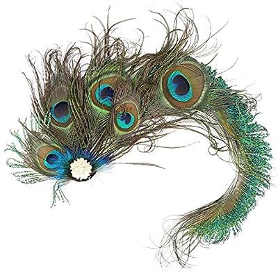 Auranso Peacock Feather Hairclip Fascinator Hair Pin Rhinestones Headband Wedding Party Girls Women