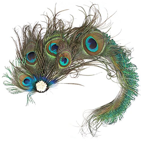 Auranso Peacock Feather Hairclip Fascinator Hair Pin Rhinestones Headband Wedding Party Girls Women Green -