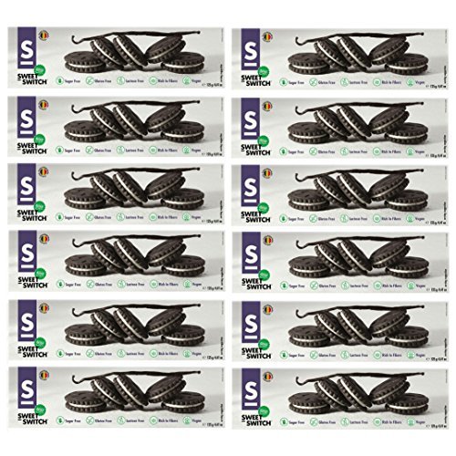 Black & White Cocoa Biscuits Cookies No Added Sugar Gluten Free Vegan Stevia SWEET SWITCH 125g (Pack of 12)