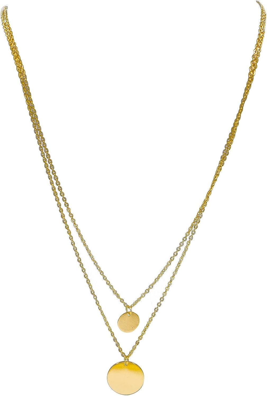 Sanwood® Damen Modeschmuck Gold Rund Pailette Anhänger Multilayer Kette Halskette