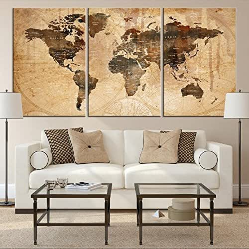 Sephia World Map Wall Art, Old World Map Canvas, World Map Print, World Map Poster, World Map Art, World Map Push Pin