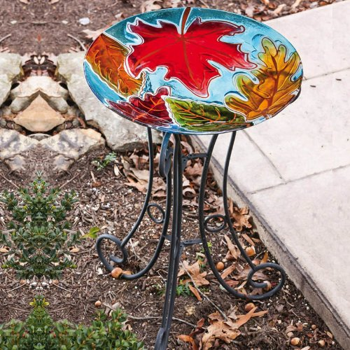 Falling Leaves Bird Bath by Evergreen Flag & Garden