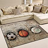 XiangHeFu Soft Doormats 7'x5' (80x58 Inches) Area Rugs 3D Rendering Of Basketball Baseball Soccer Embedded Brick Wall Non-Slip Floor Mat Resting for Living Room Bedroom