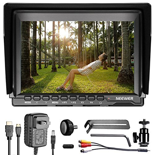 (Neewer NW759 7 Inches 1280x800 IPS Screen Camera Field Monitor - 16:10 Ratio; for Sony Canon Nikon Olympus; Includes 1 US Plug Charger, 1 Mini HDMI Cable, 1 AV Cable for FPV, (Battery Not Included))