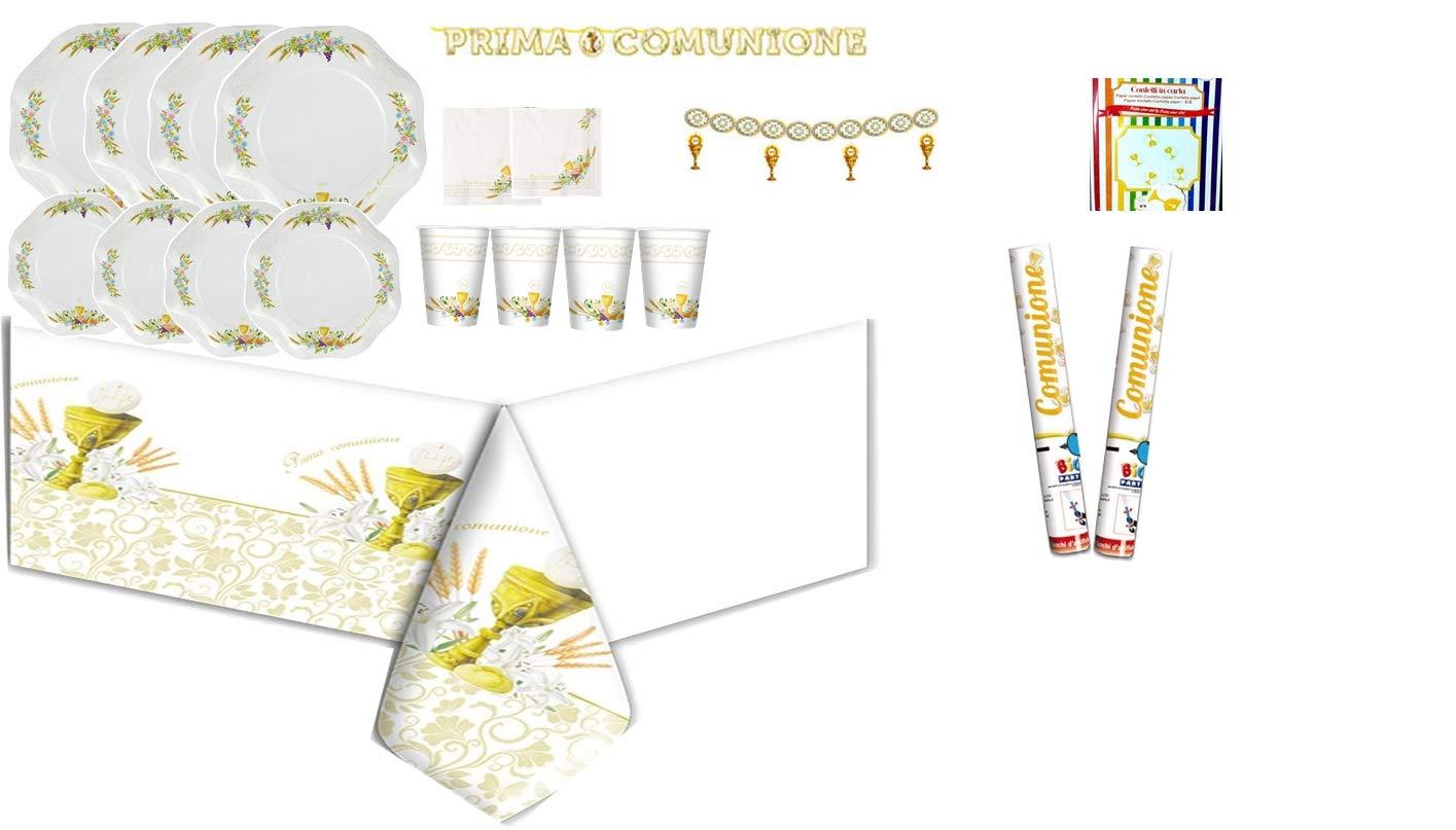 CARTA IN Kit N2 Coordinato TAVOLA Festa Prima Comunione Bambini ADDOBBI Decorazioni Festa Santa Comunione