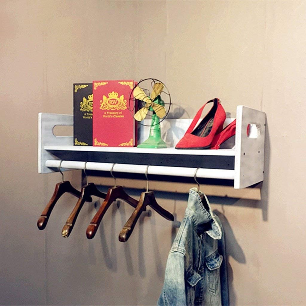 60 cm Hanger and Shelf 2 in 1 Coat Rack Retro Wood Combination Wall Hook Wall Shelf Wall Clothes Rack Suitable for Living Room Bedroom (Size   60 cm)