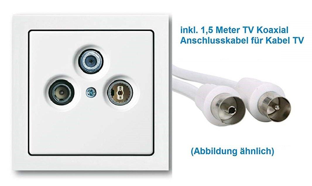 alles in Busch J/äger Future Linear Studiowei/ß ** WISI BUSCH J/ÄGER Komplettset//Antennensteckdosen-Einsatz Radio//TV//SAT 1fach Rahmen und Abdeckung