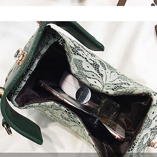 Rotondo Spalla Merletto Ragazza Nero Della Catena Pacchetto Sacchetto Piccola Diagonale Rrock Obliquo Mano Verde Mini Del qvXwqYa