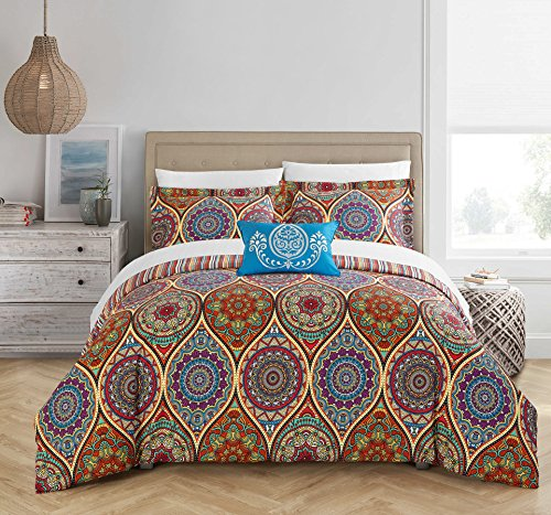 Chic Home 4 Piece Shulamit Reversible Boho-inspired print an