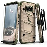 Zizo BOLT Series compatible with Samsung Galaxy S8 Case Military Grade Drop Tested with Tempered Glass Screen Protector, Holster DESERT TAN CAMO GREEN