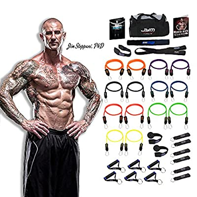The 404 lbs. JYM Strength Bands System By renowned training expert Jim Stoppani, PhD, with 14 ANTI-SNAP bands, heavy duty components, and ***BONUS Jim Stoppani's Super-Man ebook and workout card for one month free access to Stoppani's member's only websit