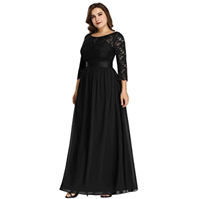 Ever-Pretty Women's Plus Size A-Line 3/4 Lace Sleeves Chiffon Long Formal Evening Party Maxi Dress 7412PZ: Clothing