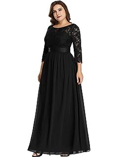495217f517cc Ever Pretty Women's Elegant A Line 3/4 Lace Sleeves Floor Length Chiffon  Plus Size
