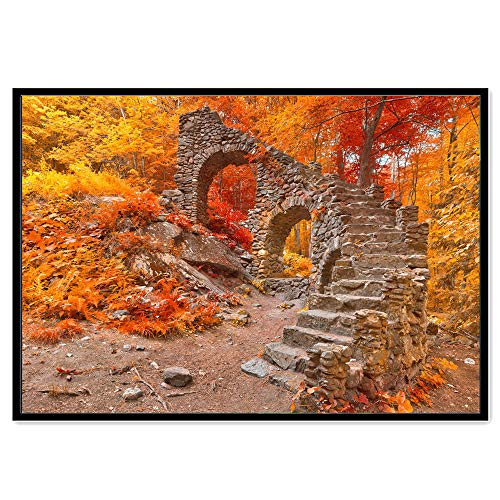 (DIY 5D Diamond Painting,Dartphew [ Historical stone bridge & maple leaf forest ] - Creative Sewing Cross Stitch & Crafts,Wall Stickers for Decoration Home Lving Room (Nature,Size:40x30cm))