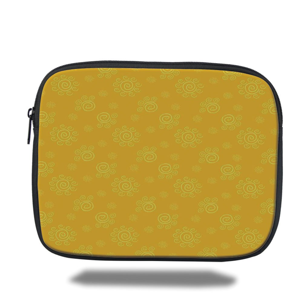 Laptop Sleeve Case,Yellow Decor,Sun Solar Hand Drawn Style Pattern with Little Spiral Spots Like Hot Summer Sun,Yellow,iPad Bag