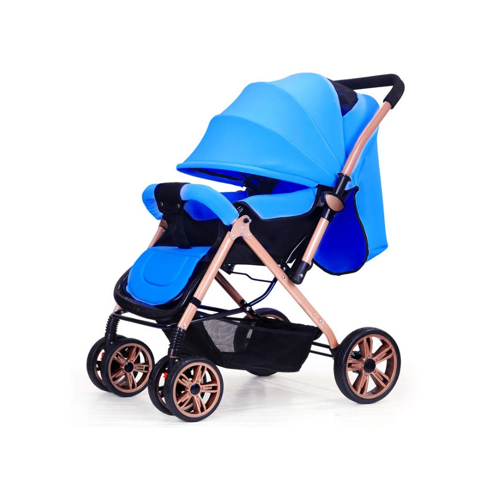 Whthteey Foldable Baby Stroller Anti-Shock Wheel Infant Stroller Includes Rain Cover Full Recline for 0-3 Years (Blue)