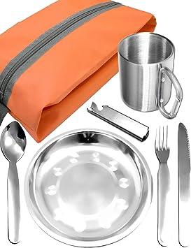 Set Kit De Casserole De Pique-Nique en Plein Air en Acier Inoxydable Assiette De Cuisine Et Bol Kit De Batterie De Cuisine De Camping-Camping Portable pour Randonn/ée MAGT 8pcs