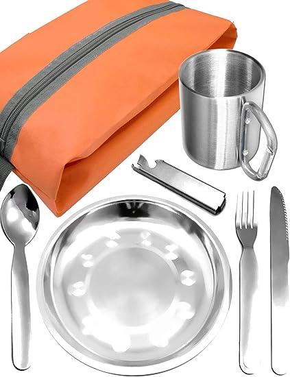 Outdoor saxx® – Completo Outdoor Picnic Juego | Plato de acero inoxidable + camping Cubiertos Cuchillo Tenedor Cuchara + taza de acero inoxidable + ...
