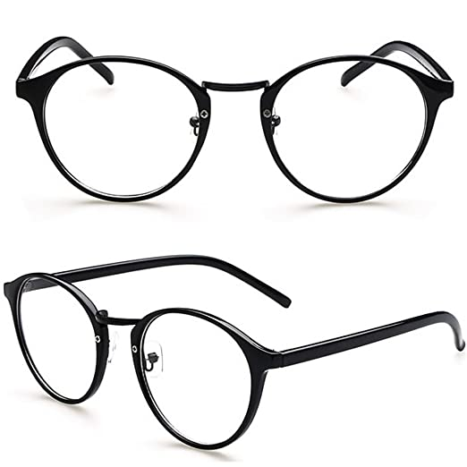 2bd76ac5928 Amrka Retro Round Nerd Glasses for Women Men Vintage Eyeglasses with Round Clear  Lens 56mm Unisex