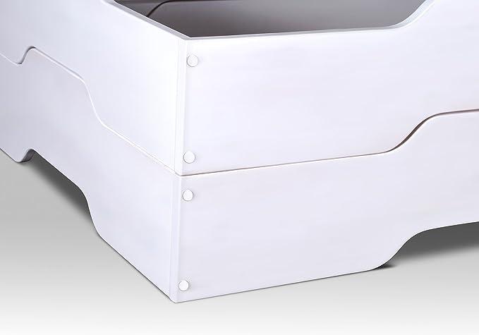 tex-massiv-möbel Cama de Invitados Cama apilables – MIA Soft – 90 x 200 en Color Blanco diseño sin Roll Parrillas