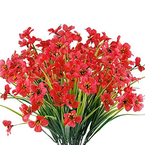 12 Bundles Artificial Flowers Outdoor UV Resistant Fake Flowers No Fade Faux Plants Garden Porch Window Box Decorating…
