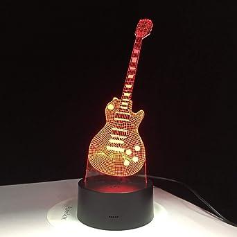 BFMBCHDJ Guitarra eléctrica 3D Lámpara LED 7 Lámpara de mesa USB ...