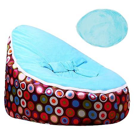 Iraza Puff Funda de Bean Bag,Puff para niños Infantil Kit de Sillónes de Hinchables,Color Gris,para Sala Dormir (Azul, 65_x_56_x_40cm)