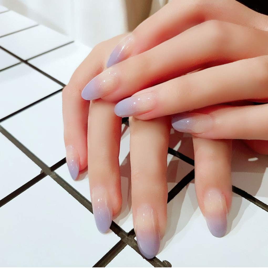 Yalice Glossy Fake Nails Purple Long Press on Nails Tip Oval Full Cover  Nails Ombre Acrylic False Nails for Women and Girls 25Pcs