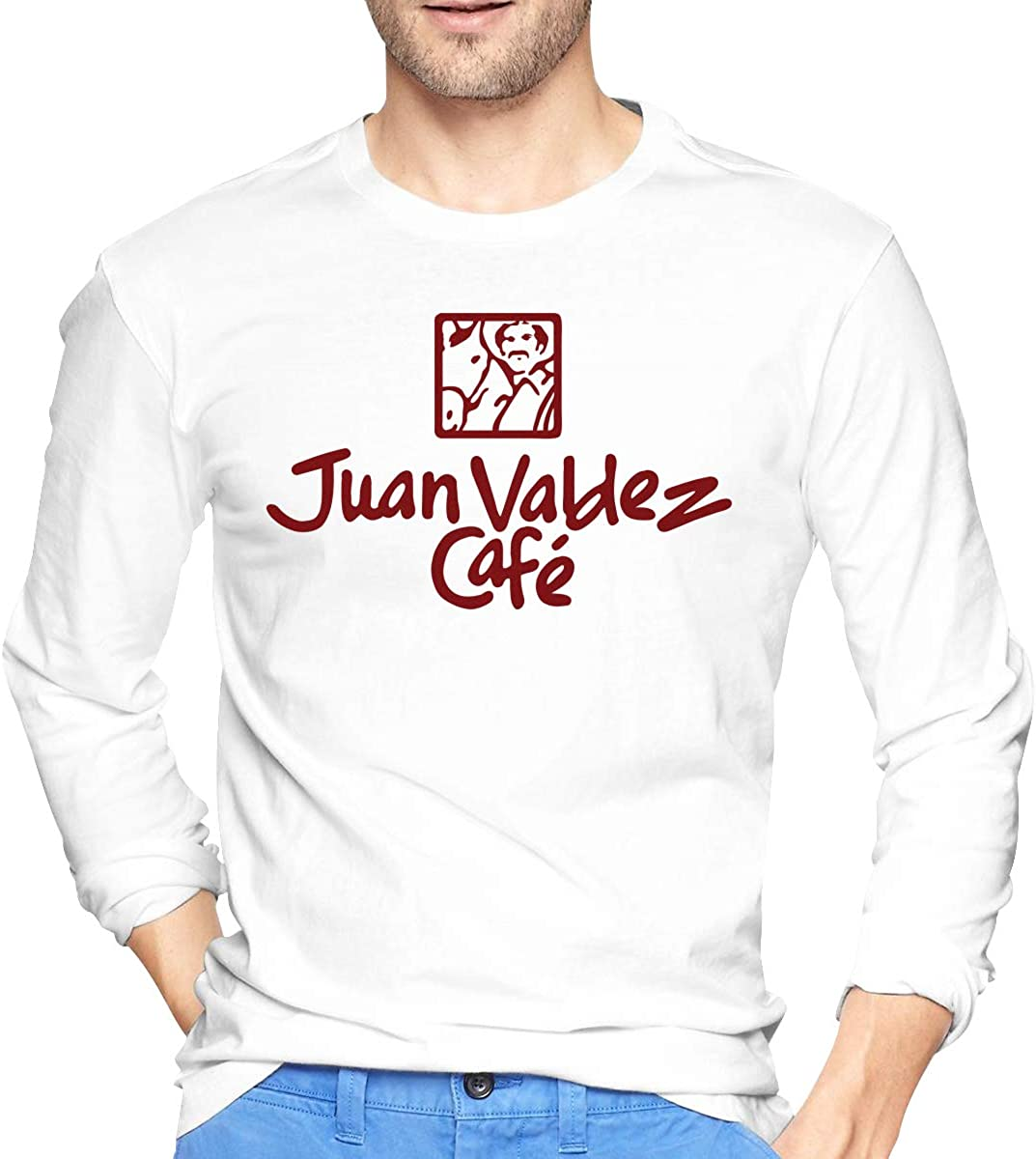 Mens Long Sleeve T-Shirts Juan Valdez Cafe Printed Casual Street Wear Trendy Tee Shirt