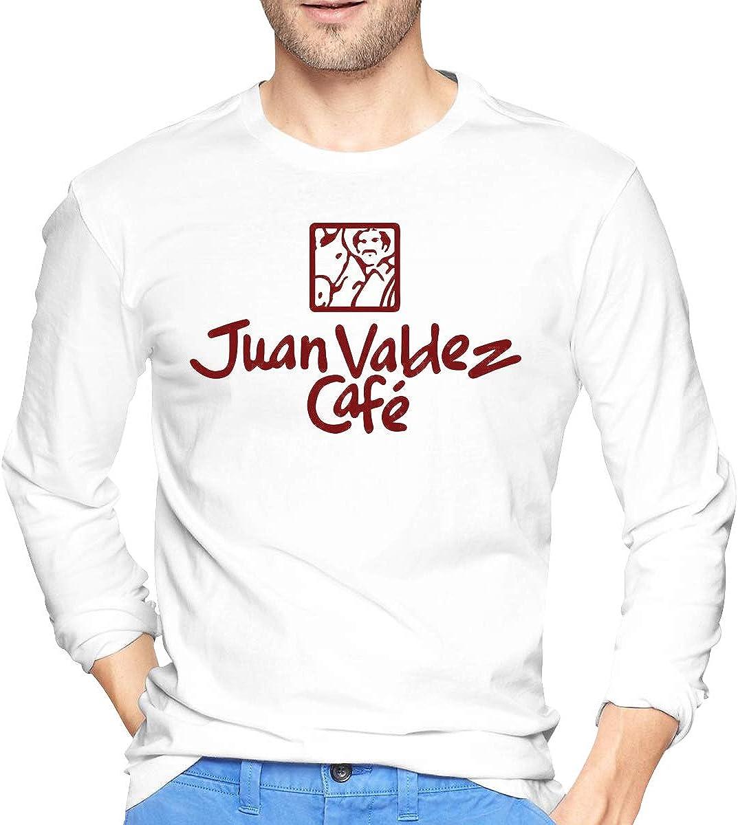 Mens Long Sleeve T-Shirts Juan Valdez Cafe Printed Casual Street Wear Trendy Tee Shirt