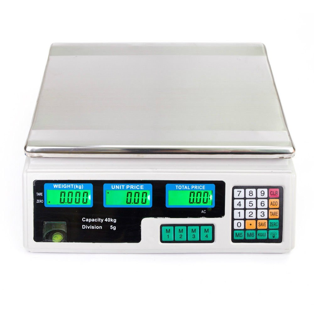 40KG/88LB Food Deli Scale | Food Meat Price Computing Retail Counting Weight Weighing Scale Electronic Counter Supermarket Outlet Store