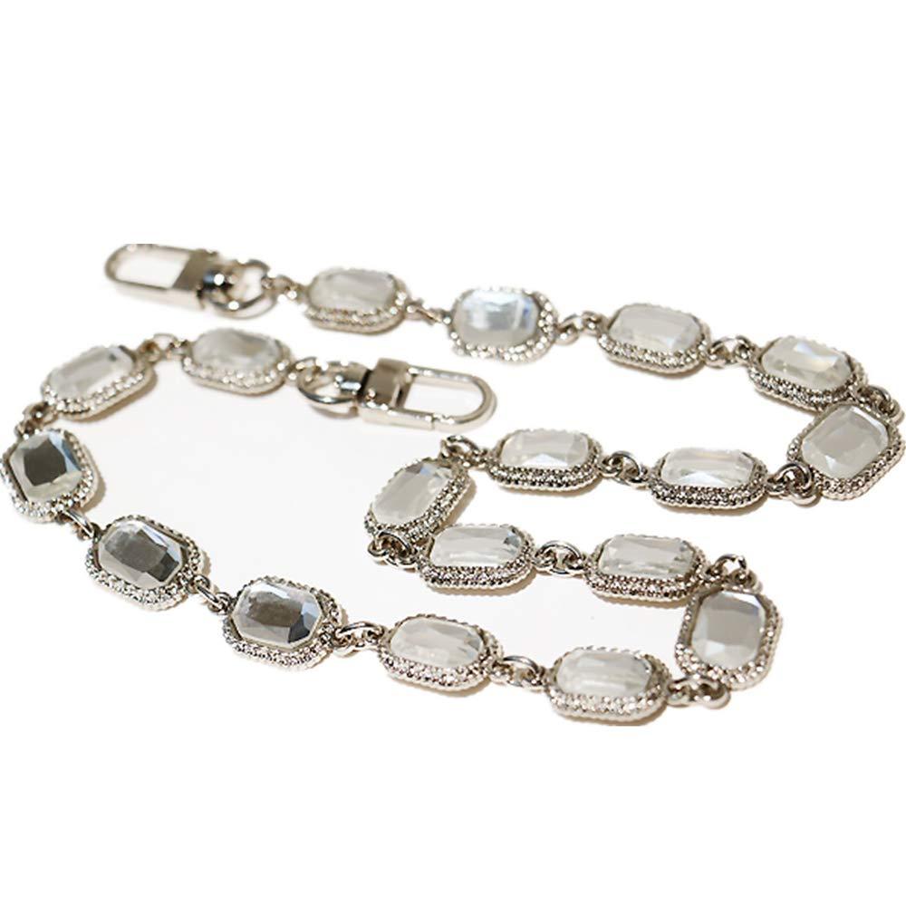 Many Rhinestone Pendant Shape Silvery Chain Strap Replacement Purse Chain Strap for Shoulder Bag/Handbag Bag/Wallet (Length 55cm)