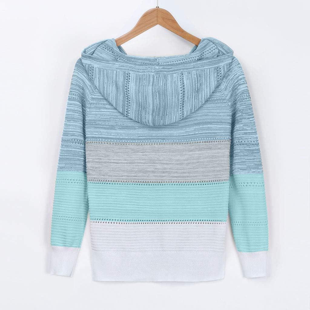 casual Maglione da donna lavorato a maglia con scollo a V Gofodn taglie forti patchwork