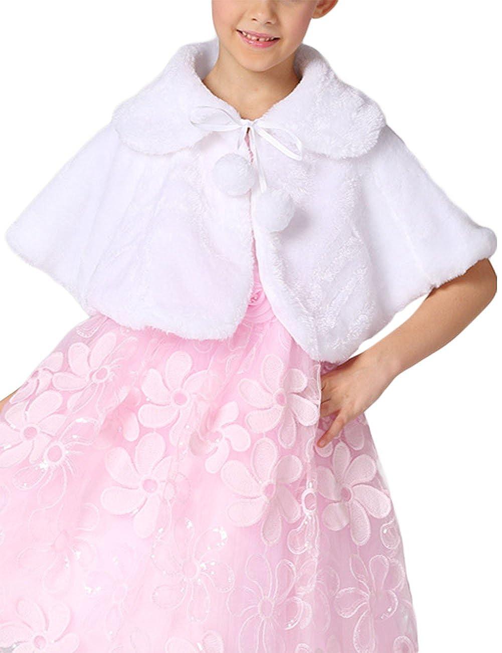 Soft Feel Girls Princess Faux Fur Shoulder Cape Flower Girl Shawl Stole Shrug
