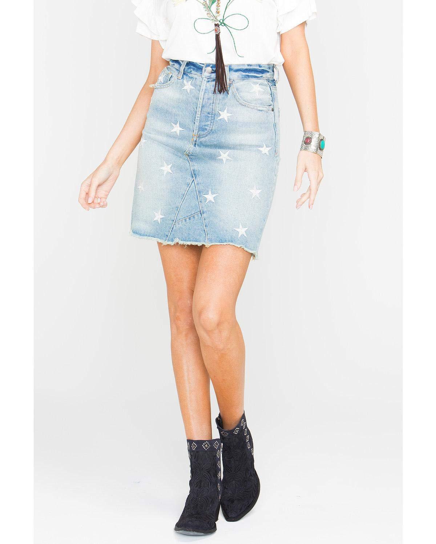 VELVET HEART Women's Women&Rsquo;S Star Print Denim Skirt Blue 31
