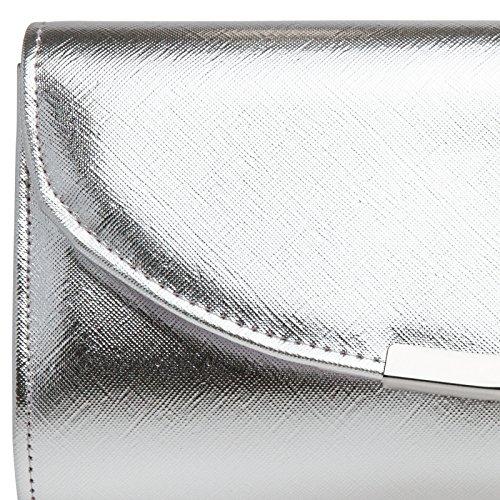 con Elegante Plata para de Mano TA360 CASPAR Clutch Bolso Fiesta Larga Mujer Cadena 7nwqz7RXF1