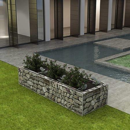 UnfadeMemory Jardinera Exterior,Gaviones de Piedra,Muro de Gaviones,Decorativos para Jardin Patio,Acero Galvanizado,Plateado (270x90x50cm): Amazon.es: Hogar