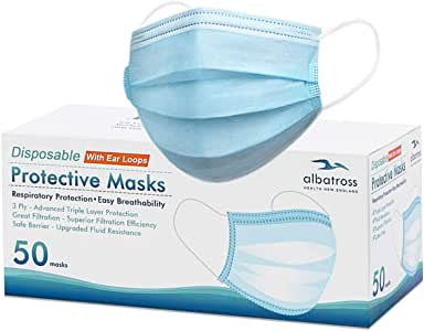 Disposable 3 ply Face Masks Pack of 50 pcs/box, Albatross Health 3ply Deluxe Procedure Earloop Face Mask, Safety Mask Filter for Protection, Mouth and Nose Cover for Adults