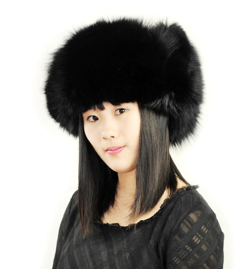 CX FUR Women Fox Fur Hat Russian Fur Hat,Black by CX FUR