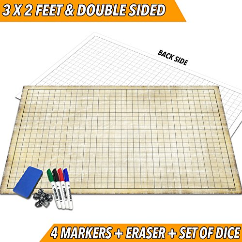 RPG Battle Grid Game Mat | 24'' x 36'' Double Sided | w/Markers, Eraser & 7pc Polyhedral Dice Set | Table Top Role Playing Map - DnD Role Play - Dungeons and Dragons Maps Tiles - Tabletop Gaming Mats by Fat Zebra Designs