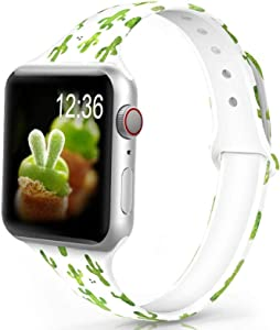Merlion Band Compatible with Apple Watch 38mm 40mm 42mm 44mm, Narrow Soft Fadeless Floral Silicone Slim Thin Replacement Wristband for iWatch Series 5/4/3/2/1