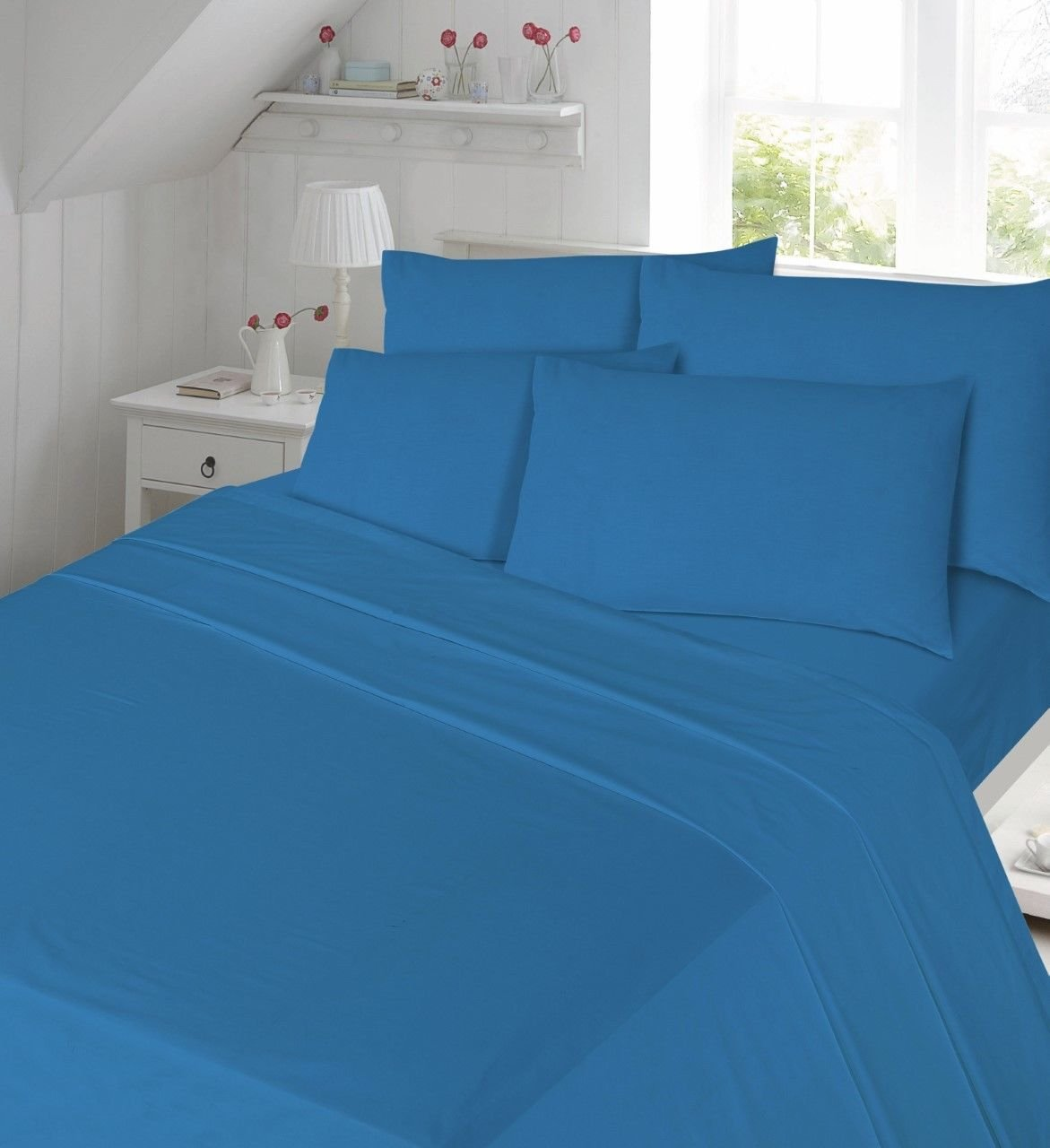 Blue Flannelette Sheet Set Double size Fitted Sheet, Flat Sheet , 2x Pillowcases Bed Sheet Set Double Size TOP STYLE