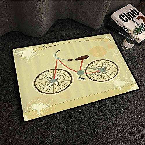Vintage Decor Door mat Customization Postcard of a Retro Bicycle on Grunge Background Illustration Print Easy to Clean W31 xL47 Brown and Khaki ()