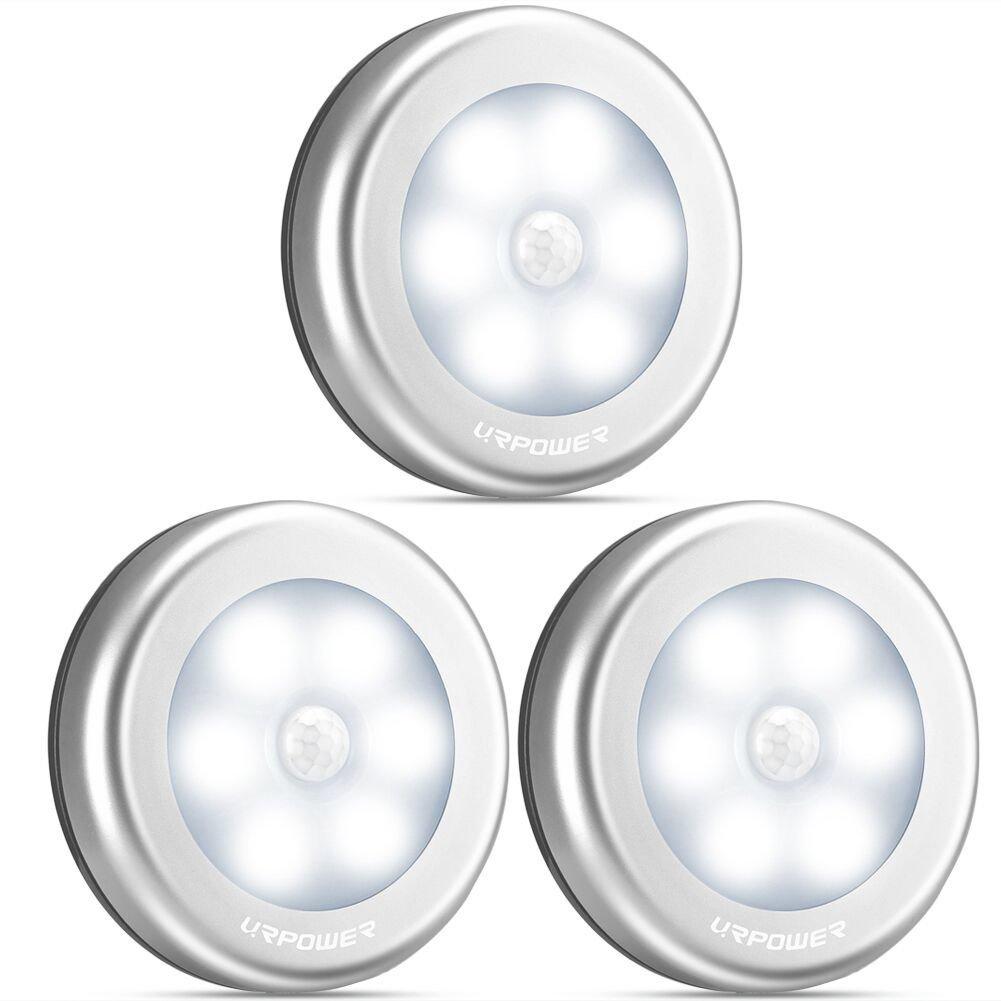 URPOWER Motion Sensor Closet Light, Motion-sensing Battery Powered LED Stick-Anywhere Nightlight,Wall Light for Entrance,Hallway,Basement,Garage,Bathroom,Cabinet,Closet by URPOWER