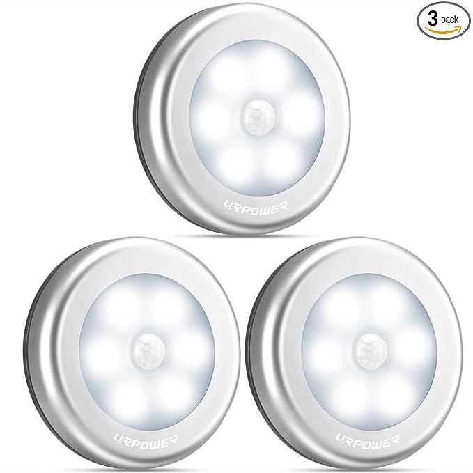 URPOWER Motion Sensor Closet Light, Motion-sensing Battery Powered LED Stick-Anywhere Nightlight, Wall Light for Entrance, Hallway, Basement, Garage, Bathroom, Cabinet, Closet