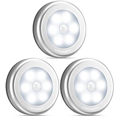 URPOWER Motion Sensor Closet Light, Motion-sensing Battery Powered LED Stick-Anywhere Nightlight,Wall Light for Entrance,Hallway,Basement,Garage,Bathroom,Cabinet,Closet