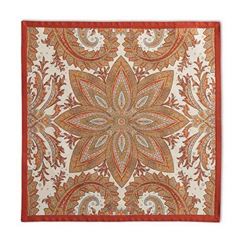Maison d' Hermine Kashmir Paisley 100% Cotton Set of 4 Napkins 20 Inch by 20 Inch (Red Orange Napkins)