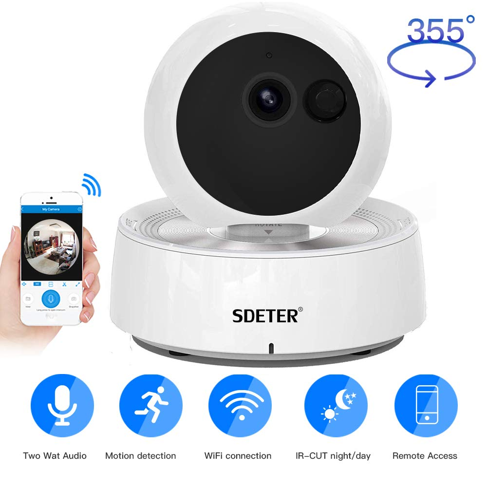 SDETER Baby Pet Camera, PTZ Dog Cat Monitor, 1080P WiFi Surveillance Home Security Camera with Infrared Night Vision Motion Detection Cloud Service