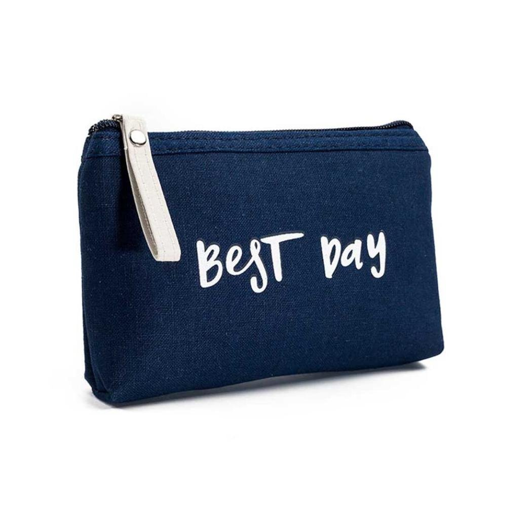 Pocciol Cosmetic Bag, Lovely Cute Womens Canvas Letters Print Zipper Coin Purse Wallet Card Holders Cosmetic Bag Handbag (D)